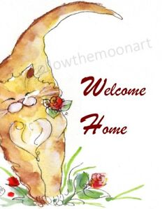 Welcome-Home-Calico-Kitty-Cat-Red-Flowers-Home-Folk-Art-Wall-Art-Print