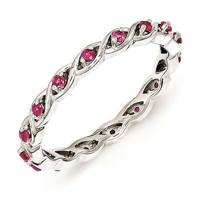Silver Stackable Ring Round Created Ruby Stones, July Birthstone Jewelry QSK1476