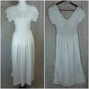 6bce0f061fc8 Image is loading Vintage-Womens-Medium-Nightgown-Apostrophe-Sears -Lingerie-White-