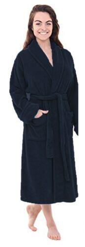New Soft Navy Fleece Dressing Gown Hooded Pockets Bath Robe Unisex Womens Mens
