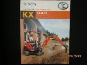 ORIGINAL KUBOTA KX41-3V COMPACT EXCAVATOR CATALOG BROCHURE VERY NICE