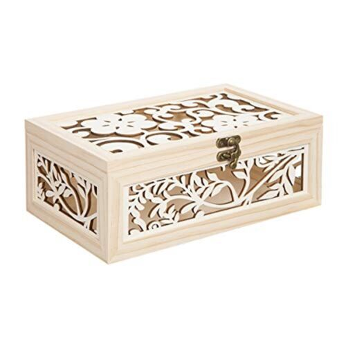 "Wood Box W//laser Cut Flower Pattern-10.5/""x6.5/""x4.25/"""