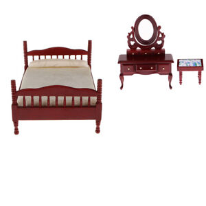 1:12 Dolls House Miniatures Wooden Bedroom Bed Dressing Table And Stool