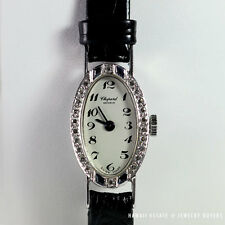 CHOPARD ART DECO SAPPHIRE DIAMOND OVAL WATCH 18K WHITE GOLD BLACK STRAP WORKING