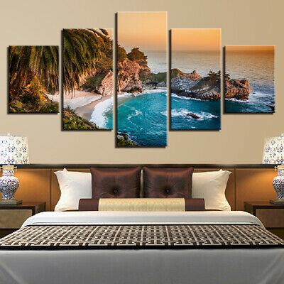 Relax Palm Beach Painting 5pc Canvas Print Cool Ocean Poster Wall Art Gift Decor