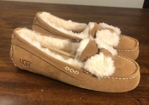 ce465b85461 Image is loading UGG-Ansley-Fur-Bow-Chestnut-Suede-Moccasins-Slippers-