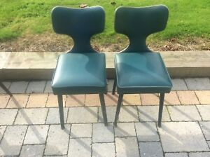 pair 2 vintage mid century modern bent wood ply plywood chairs