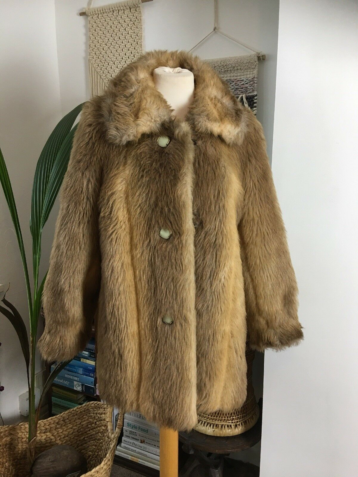3cd7b94451000b B.Y Vintage Festival Camel Faux Fur Penny Lane Margot 1960s Jacket Größe 12  14