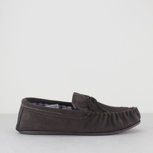 Mokkers BRUCE Mens Suede Leather Rubber Grip Sole Moccasin Slippers Dark Brown