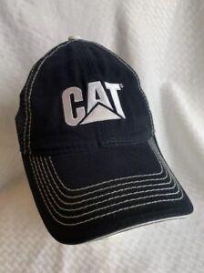 4f96d63b1e411 Caterpillar Cat Equipment Black   White Twill Mesh Snapback Trucker ...
