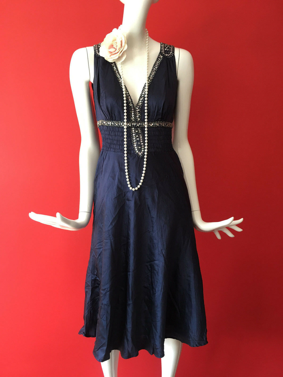 Warehouse bluee Flapper 1920s Gatsby Charleston Sequin Beaded Silk Dress Size 10
