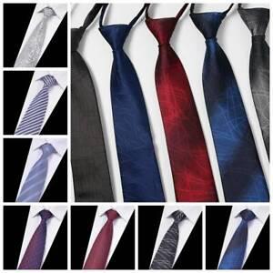 Hot Lazy Men/'s Zipper Necktie Solid Casual Business Wedding Slim Zip Up Neck Tie