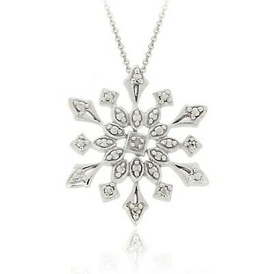 925 Silver Natural Diamond Accent Snowflake Necklace - 3 Colors