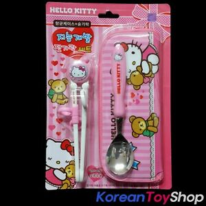Hello-Kitty-Training-Chopsticks-Stainless-Spoon-Case-Set-Licensed-Made-in-Korea