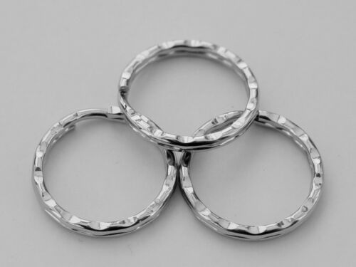 10 Stück gehärtet vernickelt Schlüsselringe gewellt 25mm Stahl