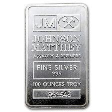 100 oz Johnson Matthey Silver Bar - Pressed Silver Bar - SKU #69946