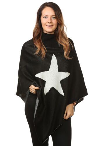 PLUS Donna Women/'s Knitted controllo STAR Ponchos Cardigan Maglioni Top UK taglia unica