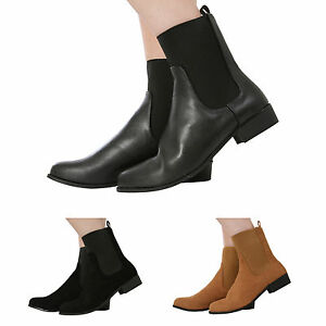 LADIES-WOMENS-PULL-ON-FLAT-LOW-HEEL-ELASTICATED-ANKLE-CHELSEA-BOOTS-SHOES