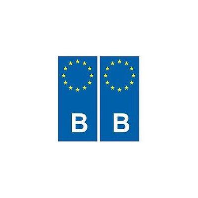 arrondis B Belgique Europe autocollant plaque