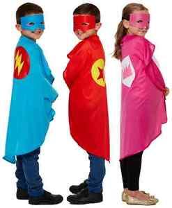 kids boys girls red pink blue super hero cape mask fancy dress