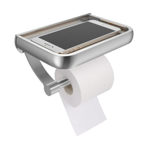 Wall Mount Toilet Paper Holder Shelf Bathroom Tissue Stainless Steel NEW