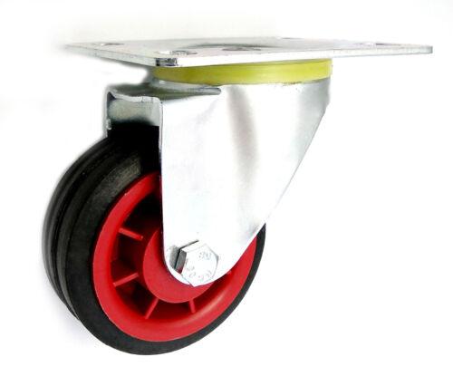 Transportrollen Kunststoffrad Ø 80 mm Vollgummireifen in kippbaren Gehäusen