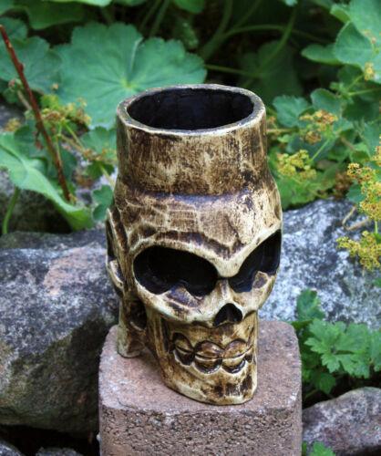 Totenkopf Dosenhalter Büchsenhalter Totenkopfdeko Gothic Holztotenkopf Holzkrug