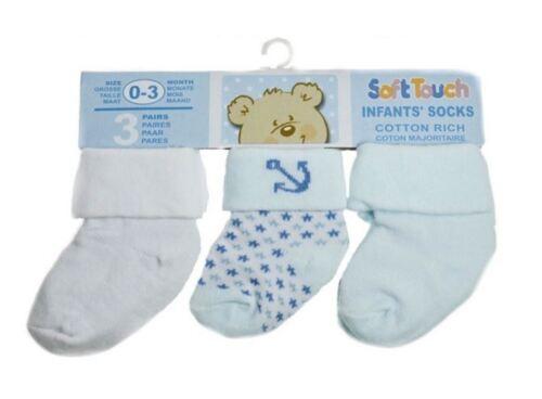 Baby boys socks turnover white navy