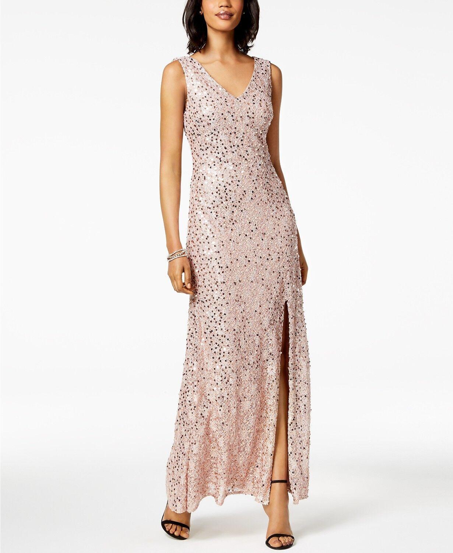 NIGHTWAY damen Rosa Gold SEQUINED LACE SIDE SLIT GOWN DRESS Größe 8