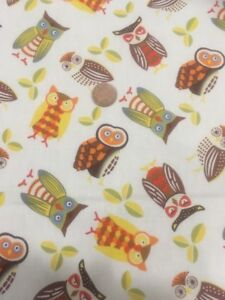 Wise-Old-Owl-Owls-Who-Gives-A-Hoot-100-Cotton-Quilting-Craft-Fabric