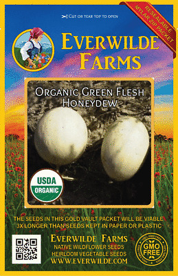 25 Organic Hearts of Gold Melon Seeds Everwilde Farms Mylar Seed Packet