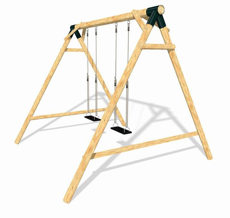 LoggyLand Doppelschaukel Schaukel Schaukelgestell Holz Spielturm Lärche Massiv