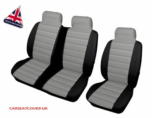 SINGLE /& DOUBLE FORD TRANSIT GREY//BLK PADDED LEATHER LOOK VAN SEAT COVERS