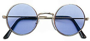 Round Sun Glasses Shades Blue Lenses Lennon Ozzy 60 70s Hippy Hippie Fancy Dress