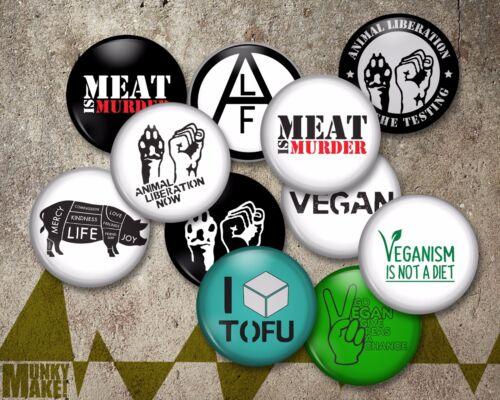 9 ANIMAL RIGHTS VEGAN Badge Magnet Keyring or Mirror ALF LIBERATION PROTEST pin