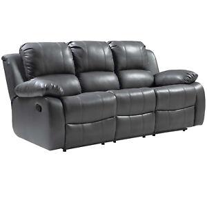 Leather Aire Recliner Sofas Valencia 3+2+1 Black Brown Cream Grey Tan Modern