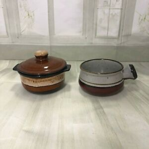 Vintage-Pottery-brown-drip-glaze-soup-bowl-and-small-casserole-dish