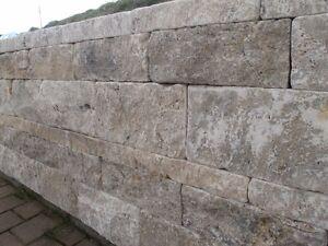 mauersteine trockenmauer steinmauer naturstein mauer travertin silver grau ebay. Black Bedroom Furniture Sets. Home Design Ideas