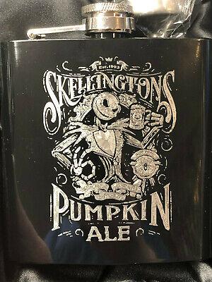 SKELLINGTON/'S Pumpkin Ale HIP FLASK black 6oz nightmare before christmas jack