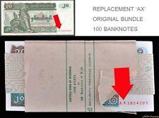 FULL BUNDLE BURMA 20 KYAT P-72 ALL REPLACEMENT 100 BANKNOTE 'AX' BANK PACKING