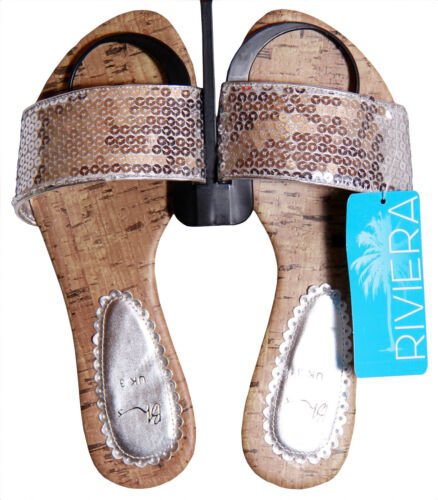 BHS Sequin Mule Sandals Beach Shoes Pink Silver Turquoise Blue Free UK Ship BNWT