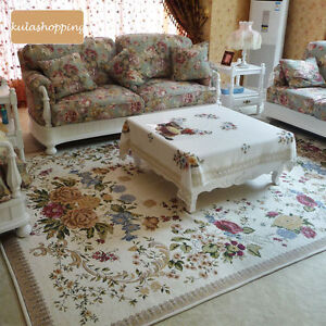 Victorian-European-Country-Traditional-Floral-Floor-Mat-Area-Rug-Carpet-Beige-I