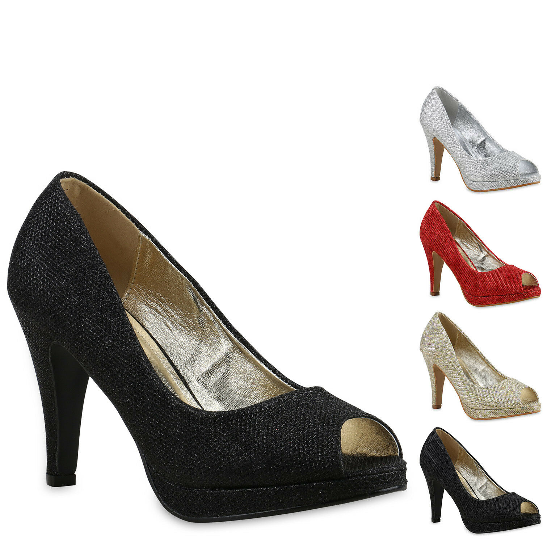 Damen Pumps Glitzer Plateau Peeptoes Party Schuhe High Heels 814201 New Look