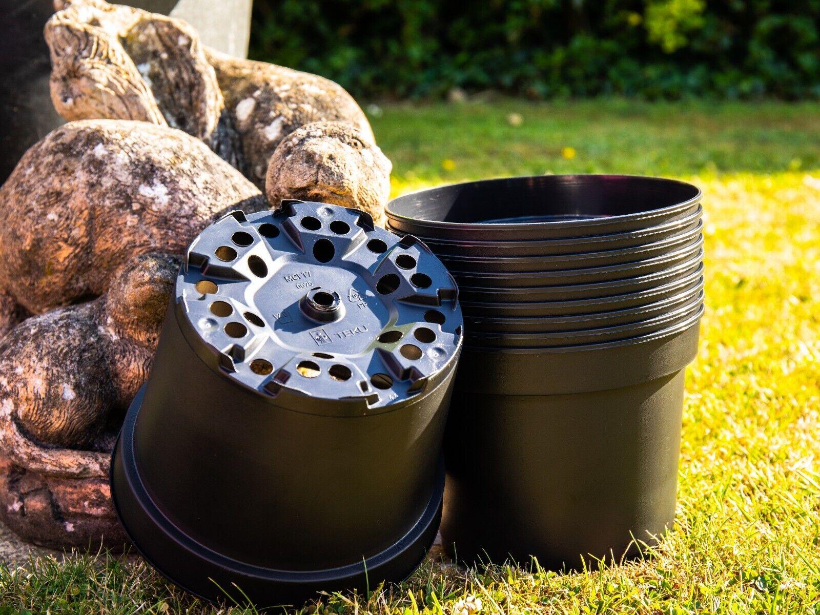 10 2litre black round plant pots