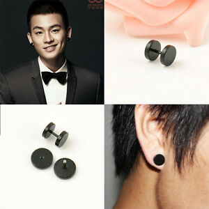 2PCS-Men-Stud-Earrings-Titanium-Steel-Ear-Punk-Black-Circular-Dumbbell-4-Sizes
