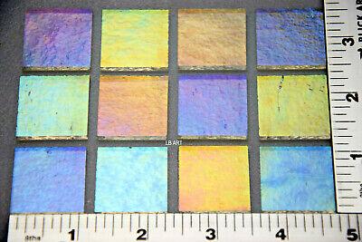 "12 TRANSPARENT COBALT BLUE 1/"" x 1/"" BULLSEYE THIN GLASS SQUARES 90 COE"