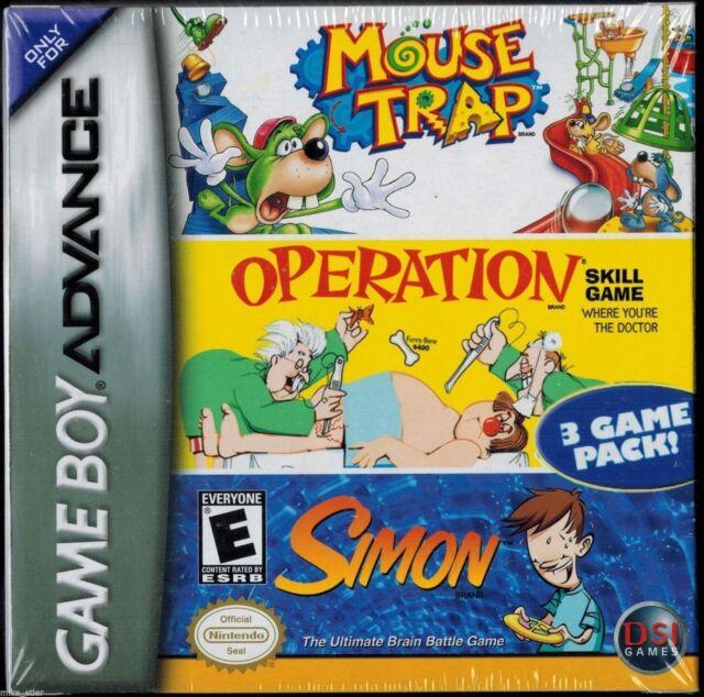 Mouse Trap / Operation / Simon (Nintendo Game Boy Advance, 2005) Factory Sealed