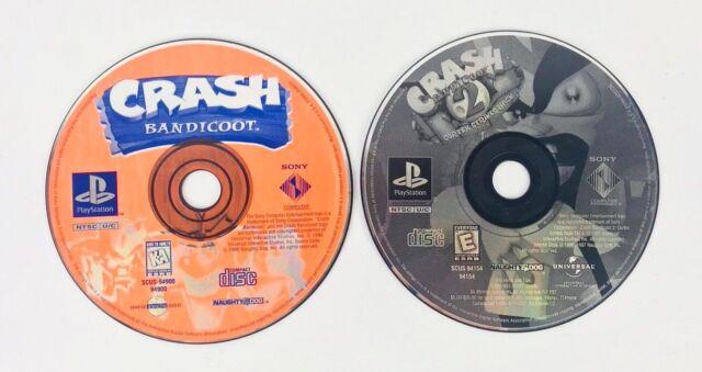 Crash Bandicoot and Crash Bandicoot 2 PlayStation 1 ps1 Video Game Disc Only