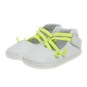 Little-Blue-Lamb-Baby-Shoes-Learning-to-Walk-Ballerina-White-Real-Leather-NEW