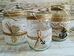 3 Vintage Windlichter Vasen Spitze Hochzeit Tischdeko Herz Anker